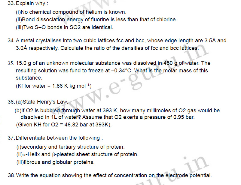 last year 12th questions of chemistry